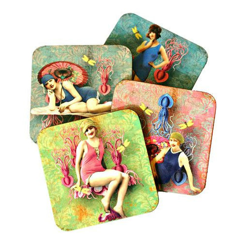 Octopus Beach - Hardboard Coaster Set of 4