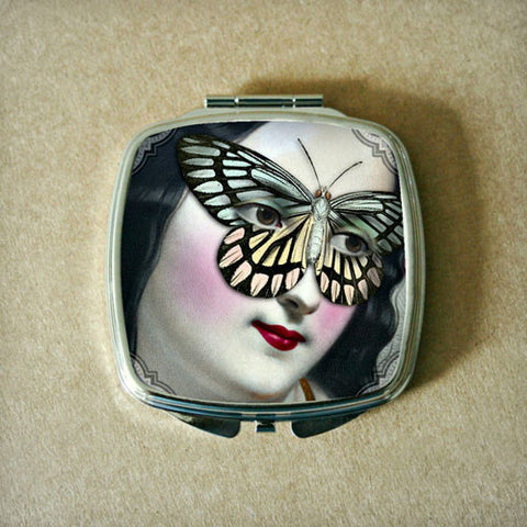 Butterfly Mask with Pastel Wings Compact Mirror