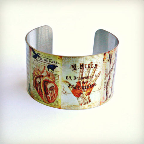 Anatomy Collage - Aluminum Cuff Bracelet