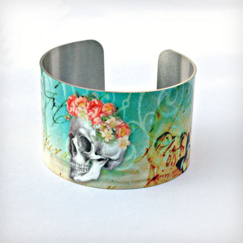 Skulls, Flowers, and Butterflies - Aluminum Cuff Bracelet