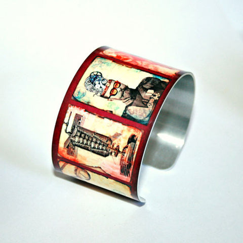 Steampunk Collage - Aluminum Cuff Bracelet