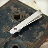 Hammered and Stamped Tie Clip with Atom Design
