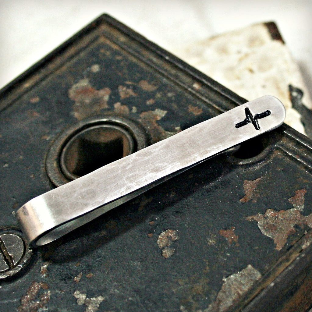 Hammered and Stamped Tie Clip with Heartbeat Design