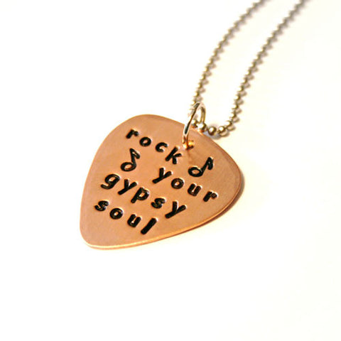 Guitar Pick Necklace- Rock You Gypsy Soul