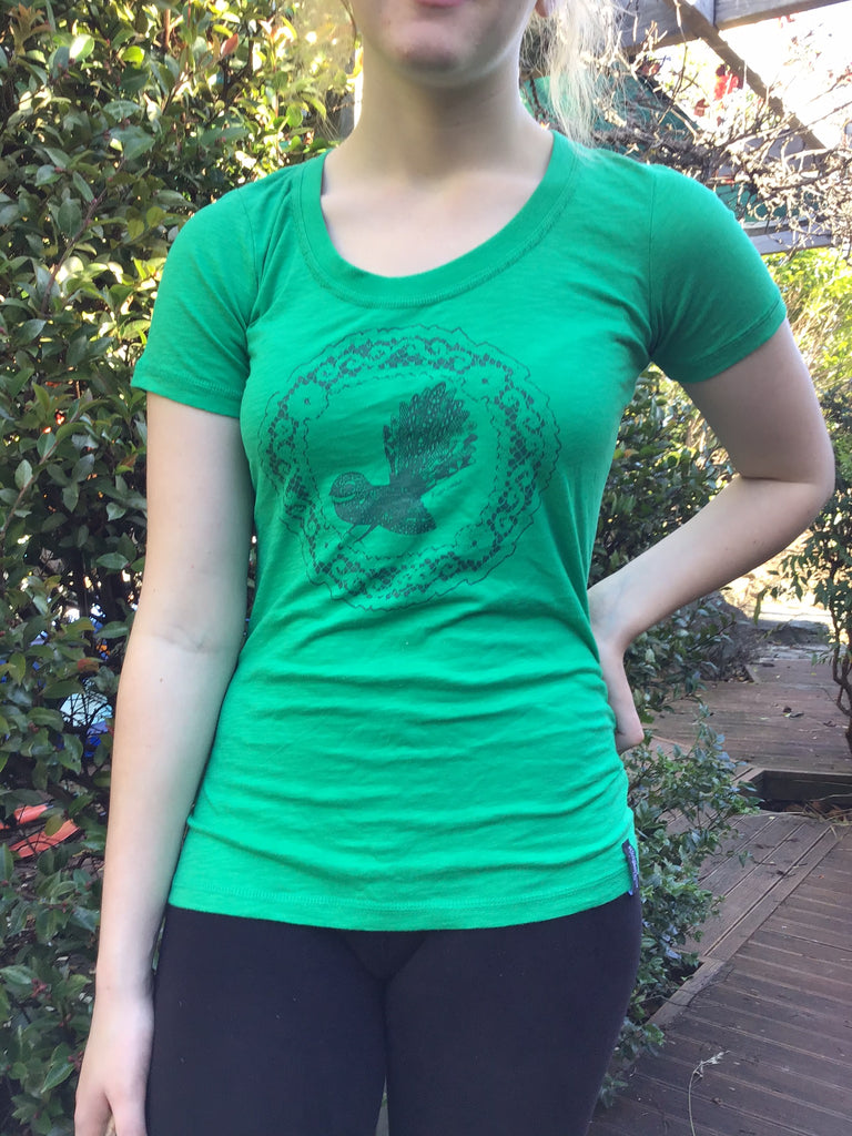 Ladies Green Fantail Tee - LIMITED STOCK