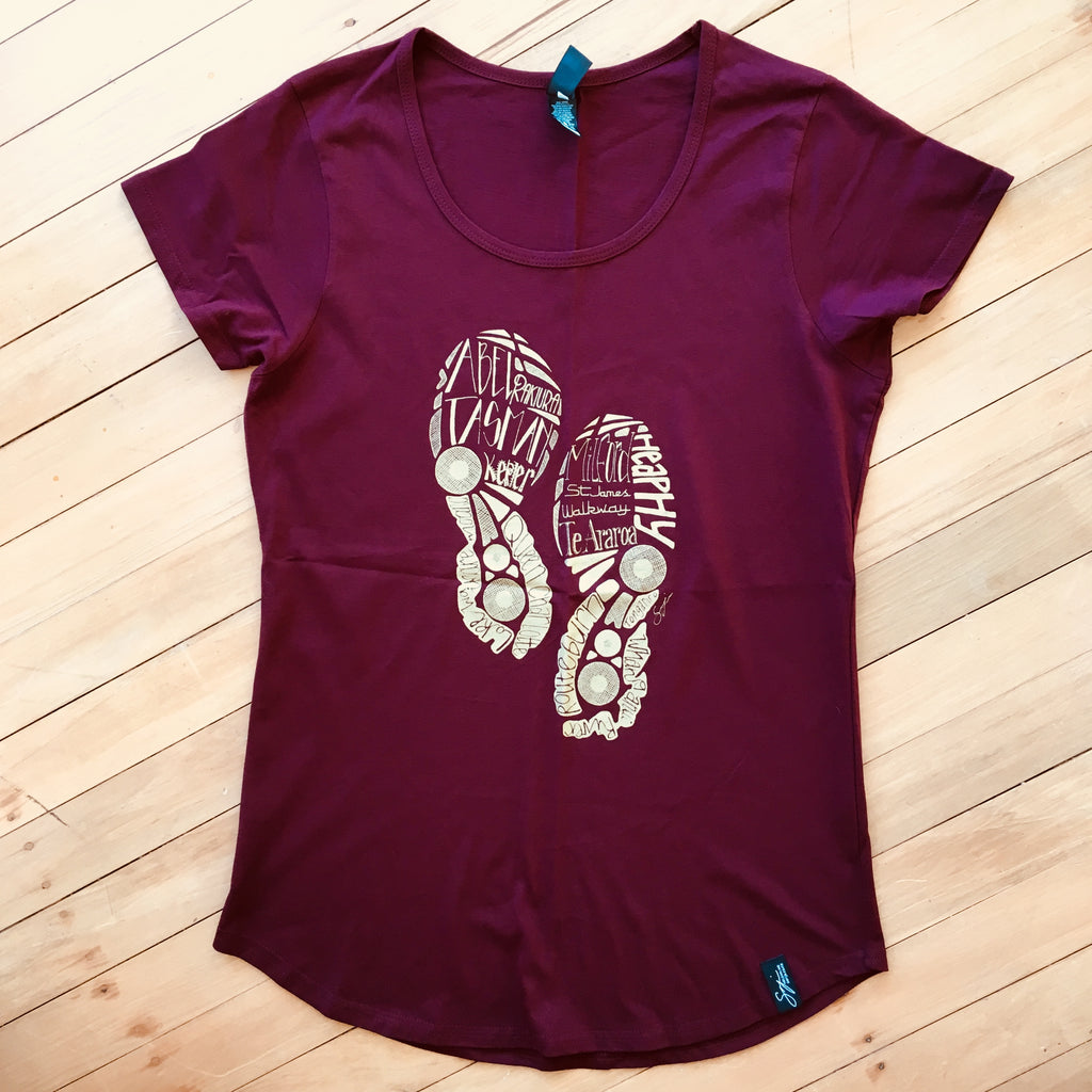 Ladies Burgundy Tramping Tee
