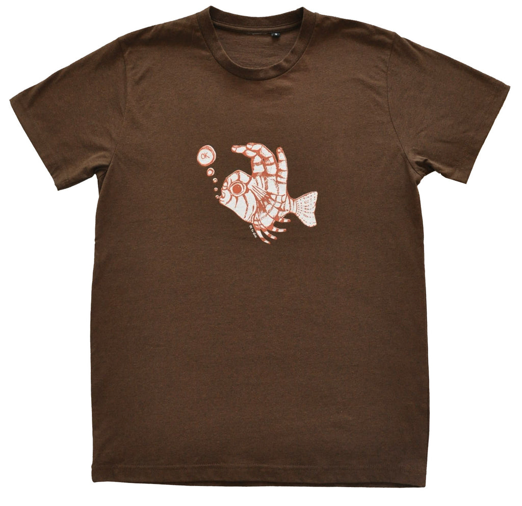 Mens Fish Fingers T Shirt Coffee Marle