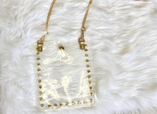 Load image into Gallery viewer, CB01CLR/Studded Clear Cross Body Phone Holder & Chain