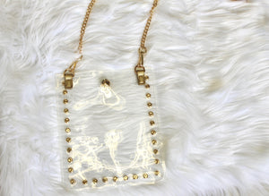 CB01CLR/Studded Clear Cross Body Phone Holder & Chain