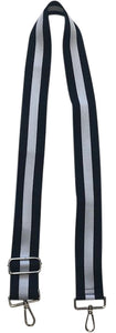 Navy/White Vertical Stripe Strap-Gold Hardware