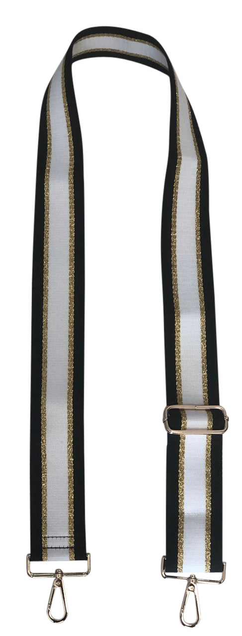 BSGH143BGW/Black/Gold/White Stripe Adjustable Web Strap