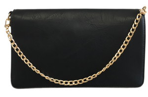 Small Vegan Leather Flap Bag with Chain