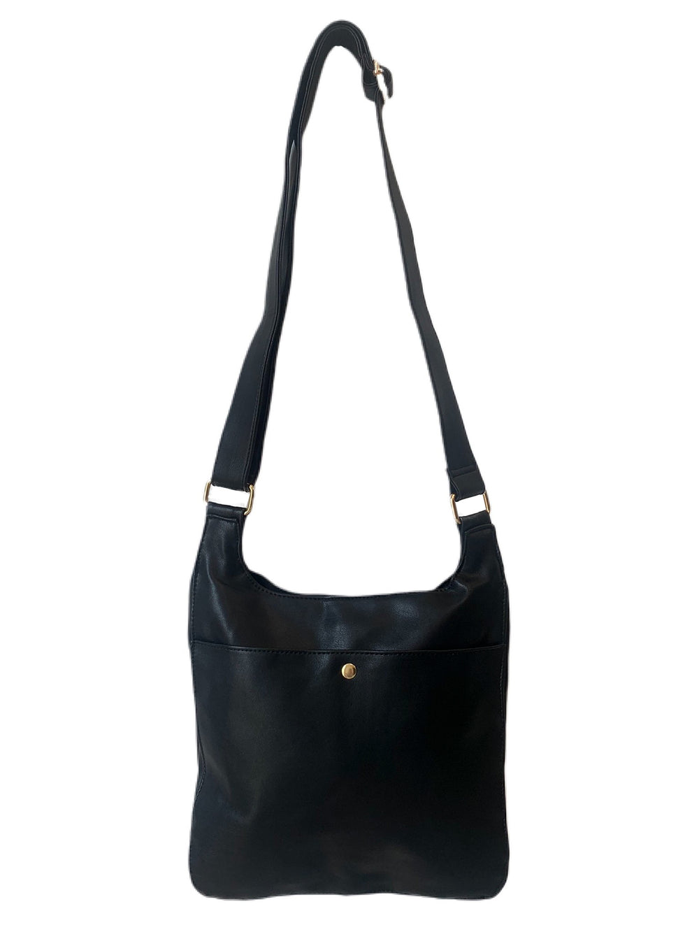 SOFT FAUX LEATHER MESSENGER WITH EXTERIOR ZIP POCKET