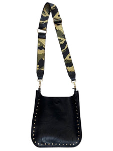 Vegan Messenger w/Studs & Camo Adjustable Strap