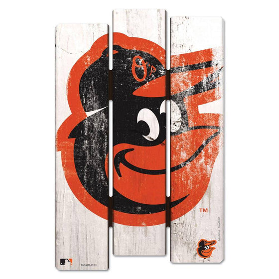 MLB Baltimore Orioles White Picket Wooden Fence Sign 11x17