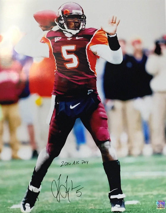 NCAA Tyrod Taylor Virginia Tech Hokies Signed Auto 16x20 Photo Inscribed 2010 ACC POY ( JSA PSA Pass) 757 - 757 Sports Collectibles