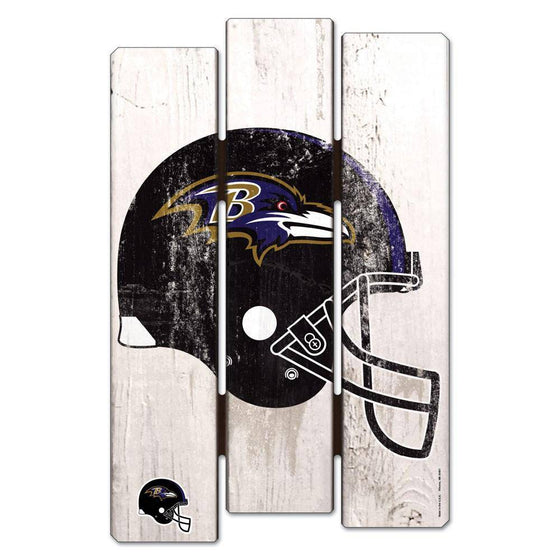 NFL Baltimore Ravens White Picket Wooden Fence Sign 11x17