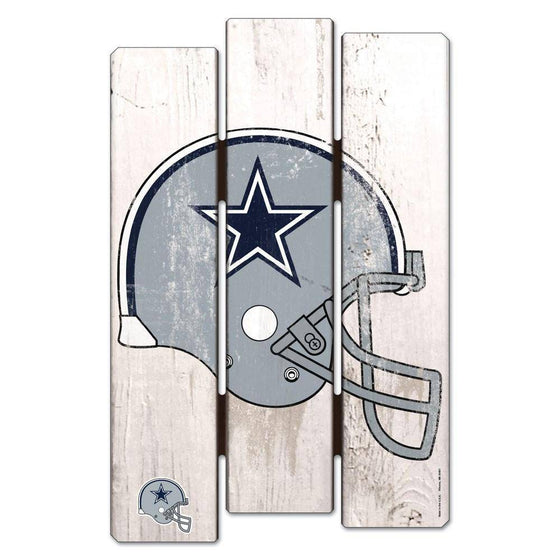 NFL Dallas Cowboys White Picket Wooden Fence Sign 11x17