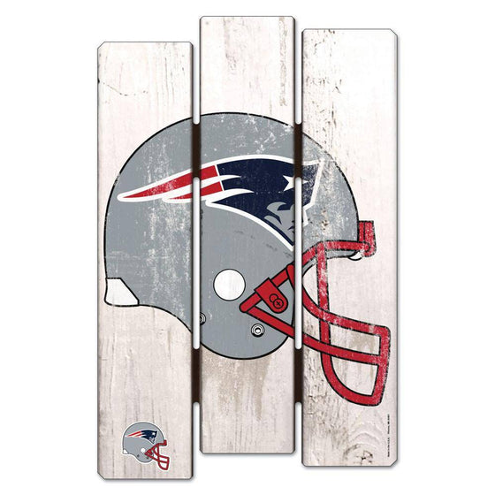 NFL New England Patriots White Picket Wooden Fence Sign 11x17