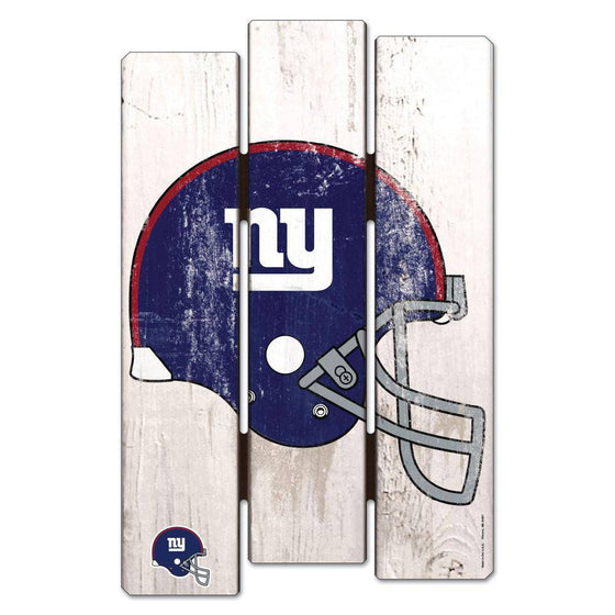 NFL New York Giants White Picket Wooden Fence Sign 11x17