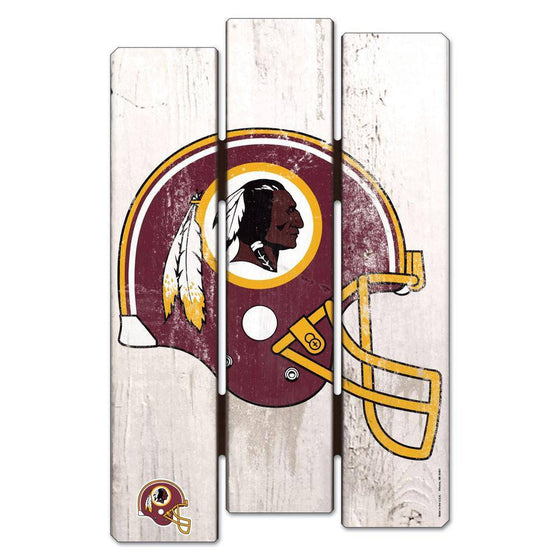 NFL Washington Redskins White Picket Wooden Fence Sign 11x17