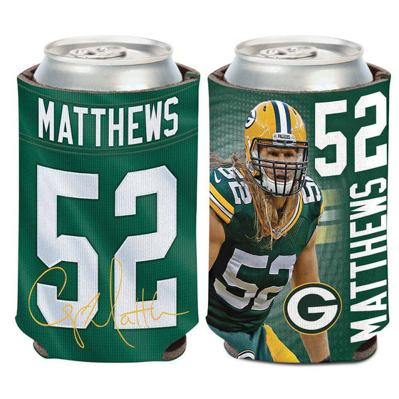 NFL Green Bay Packers Clay Matthews Neoprene Can Coolor Koozie - 757 Sports Collectibles