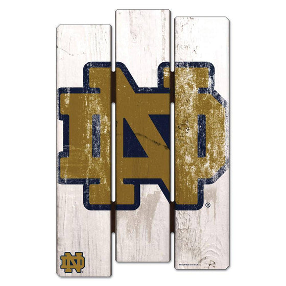 NCAA Notre Dame Fighting Irish White Picket Wooden Fence Sign 11x17