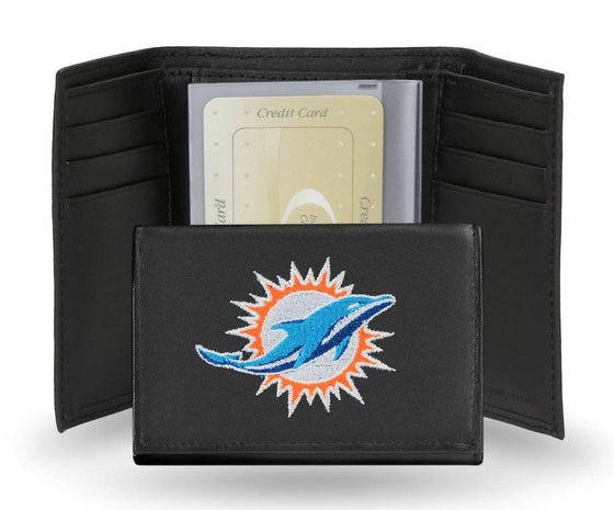 Miami Dolphins Embroidered Leather Tri-Fold Wallet (CDG)