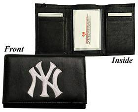 New York Yankees Embroidered Leather Tri-Fold Wallet (CDG)