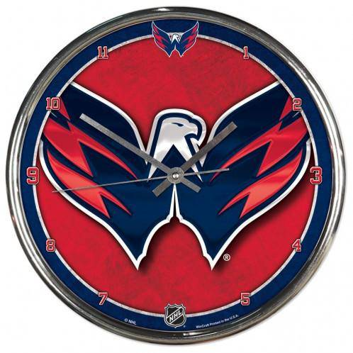 NHL Washington Capitals 12 Inch Chrome Round Wall Clock