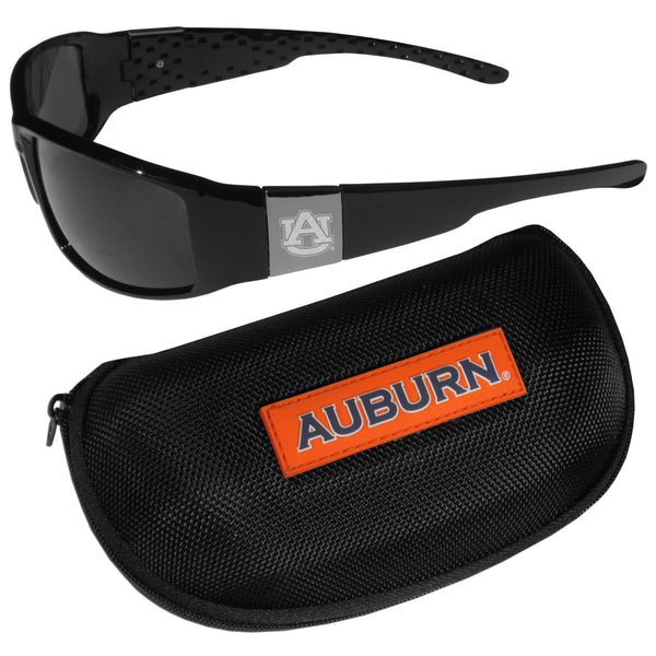 Auburn Tigers Chrome Wrap Sunglasses and Zippered Carrying Case (SSKG)
