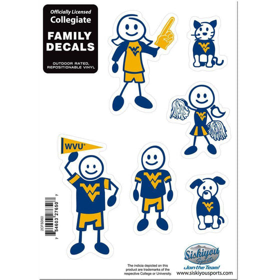 W. Virginia Mountaineers Family Decal Set Small (SSKG) - 757 Sports Collectibles