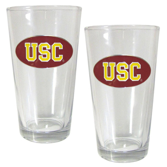 USC Trojans Pint Glass Set (SSKG) - 757 Sports Collectibles