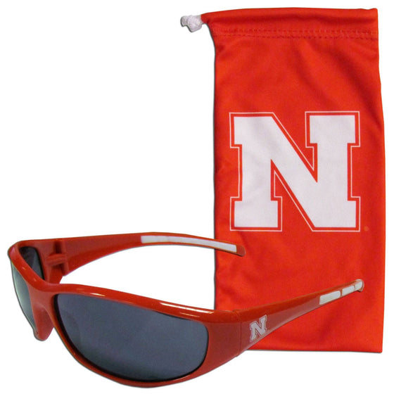 Nebraska Cornhuskers Sunglass and Bag Set (SSKG) - 757 Sports Collectibles