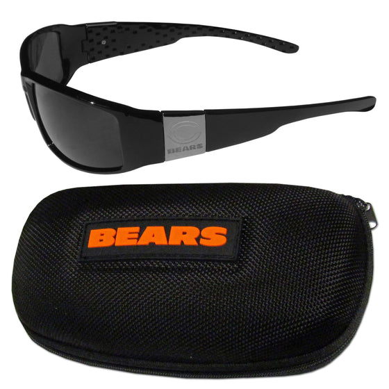 Chicago Bears Chrome Wrap Sunglasses and Zippered Carrying Case (SSKG) - 757 Sports Collectibles