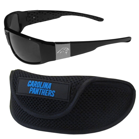 Carolina Panthers Chrome Wrap Sunglasses and Sports Case (SSKG) - 757 Sports Collectibles