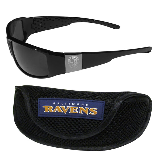 Baltimore Ravens Chrome Wrap Sunglasses and Sports Case (SSKG) - 757 Sports Collectibles