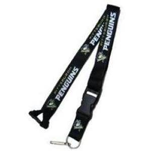 "Pittsburgh Penguins Black Primary Breakaway Lanyard 26"" Buckle w/ Key Ring"