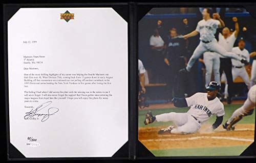 Ken Griffey Jr. Autographed Letter With Unsigned 8x10 Photo Seattle Mariners 1995 Slide UDA #BAF13551