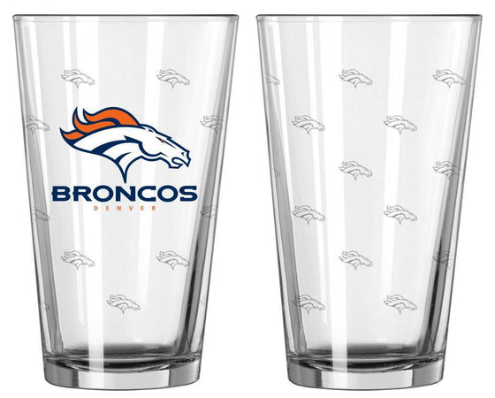 Denver Broncos Satin Etch Pint Glass Set (CDG)