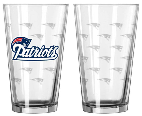 New England Patriots Satin Etch Pint Glass Set (CDG)