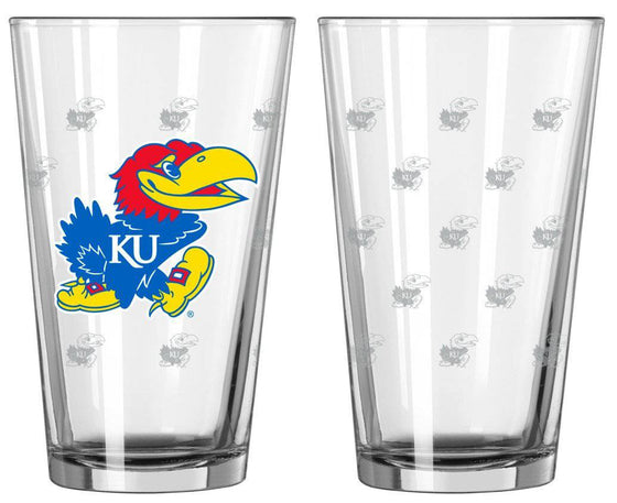 Kansas Jayhawks Satin Etch Pint Glass Set (CDG)