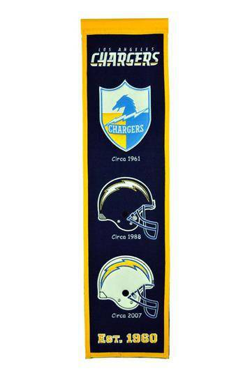 "Los Angeles Chargers Heritage Banner 8""x32"" Wool Embroidered"