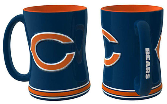 Chicago Bears Coffee Mug - 14oz Sculpted Relief - Blue (CDG)