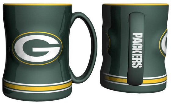 Green Bay Packers Coffee Mug - 14oz Sculpted Relief - Green (CDG)
