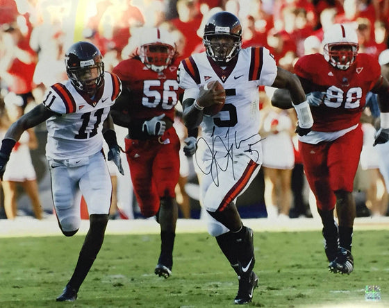 NCAA Tyrod Taylor Virginia Tech Hokies Signed Auto 16x20 Break-away ( JSA PSA Pass) 757