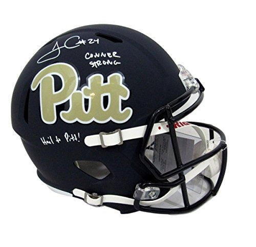 2018bc9be James Conner Pitt Panthers Signed Full Size Helmet Inscriped Speed JSA  135217 ...