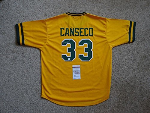 JOSE CANSECO SIGNED AUTO OAKLAND ATHLETICS A'S YELLOW JERSEY JSA AUTOGRAPHED