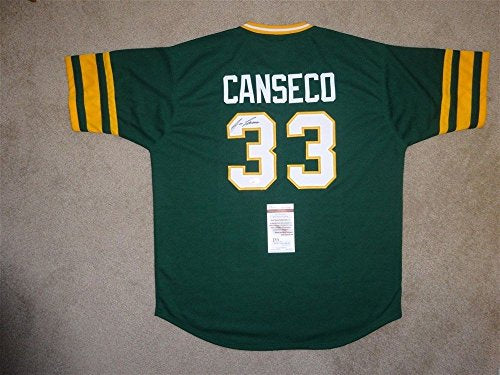 JOSE CANSECO SIGNED AUTO OAKLAND ATHLETICS A'S GREEN JERSEY JSA AUTOGRAPHED