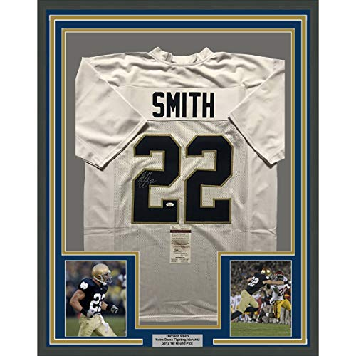 Framed Autographed Signed Harrison Smith 33x42 Notre Dame Fighting Irish  White College Football Jersey JSA ... edcefe74a